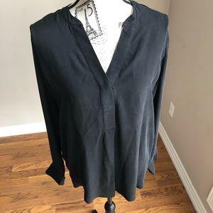 Marciano long sleeve black 100% silk tunic blouse